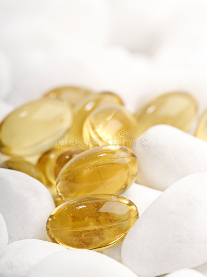Cod liver oil tablets royalty free stock image