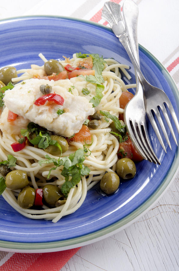Download Cod With Olive, Caper, Tomato And Parsley Stock Image - Image of white, towel: 39506947