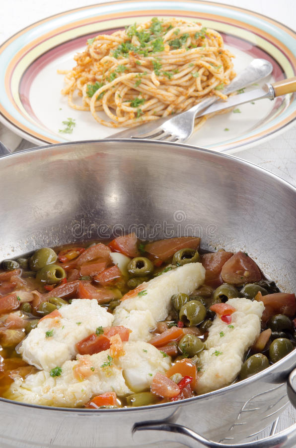Download Cod With Olive, Caper, Tomato And Parsley Stock Photo - Image of meat, spaghetti: 39507058