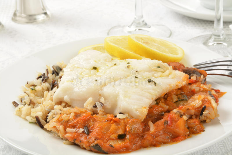 Cod Provencal. E with Ratatouille and Rice shot close up stock images