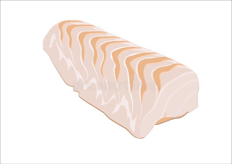 Cod steak. Slice of raw cod on white background royalty free illustration
