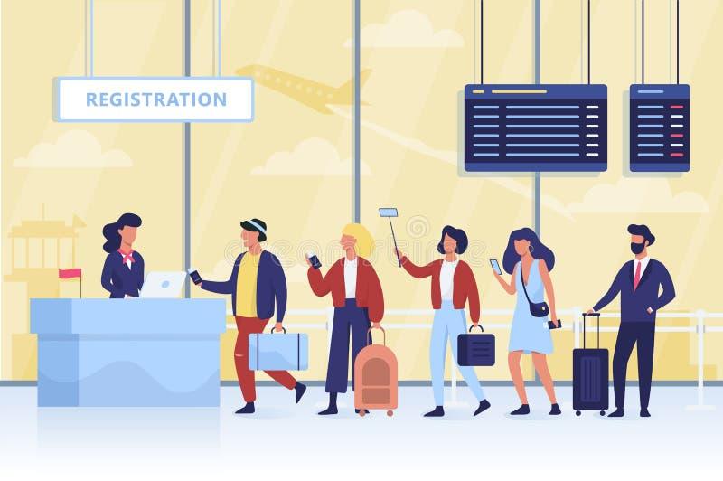 Coda alla registrazione nell'aeroporto La gente con bagagli royalty illustrazione gratis