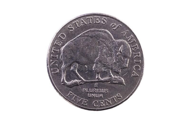 Coda della moneta di nichel degli Stati Uniti con la Buffalo cinque centesimi fotografie stock
