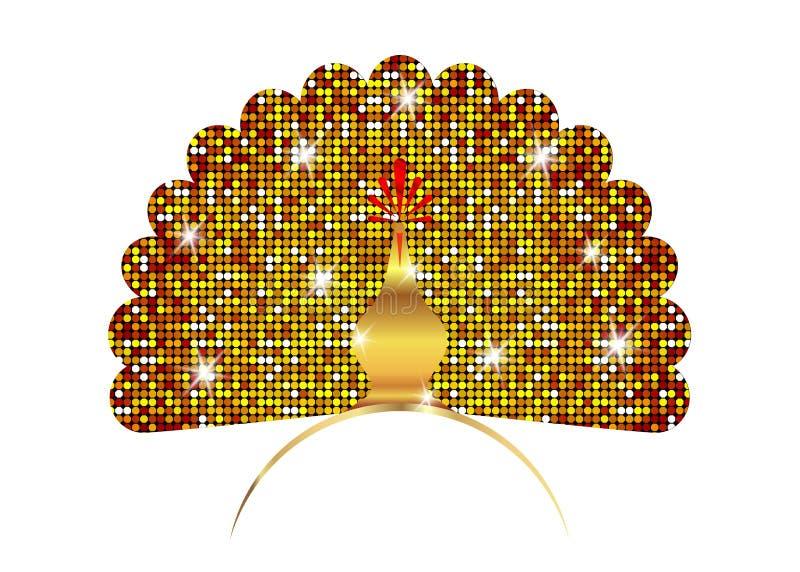 Coda di lusso del pavone della siluetta dorata dell'icona decorata Stile lineare di logo di progettazione del modello brillante d illustrazione vettoriale