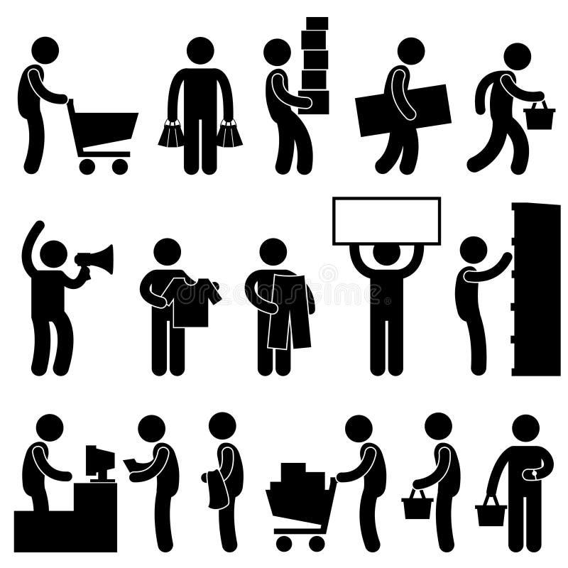 Coda di vendita al dettaglio del mercato del carrello di acquisto della gente dell'uomo royalty illustrazione gratis