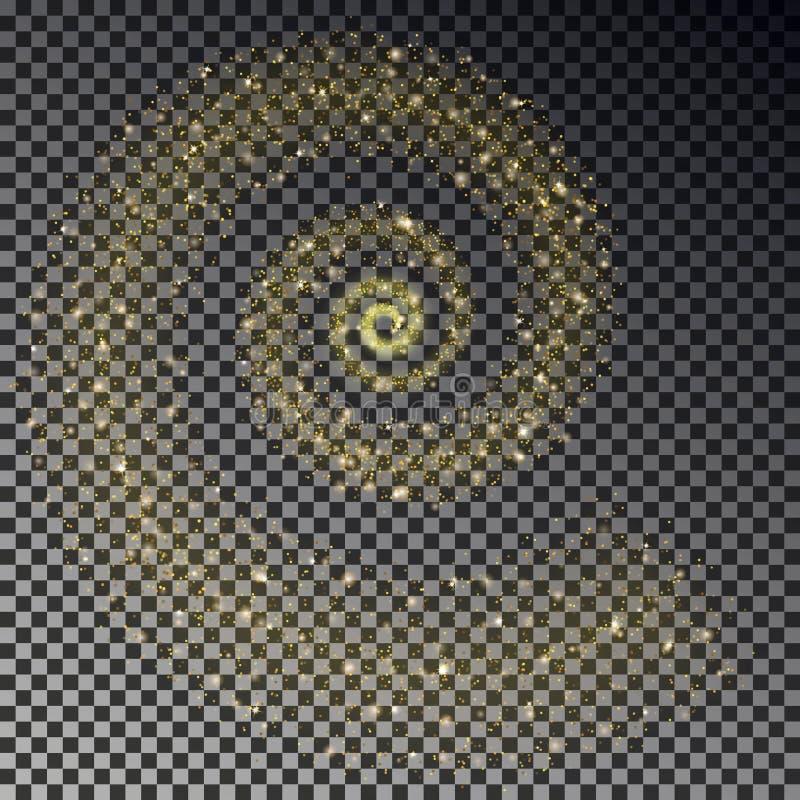 Coda a spirale dello stardust Stella cadente dorata scintillare isolata su fondo scuro Tra dello stardust di vettore illustrazione di stock