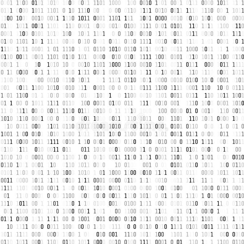 Codage binaire aléatoire Fond numérique de technologie Code binaire noir et blanc Illustration de vecteur illustration libre de droits