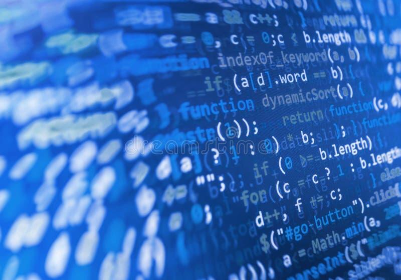 Codage de l'écran de programmation de code source Affichage de données abstrait coloré Manuscrit de programme de Web de programma images stock