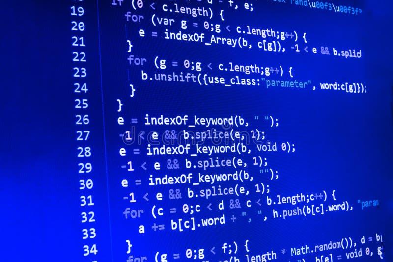 Codage de l'écran de programmation de code source Affichage de données abstrait coloré Manuscrit de programme de Web de programma photographie stock libre de droits