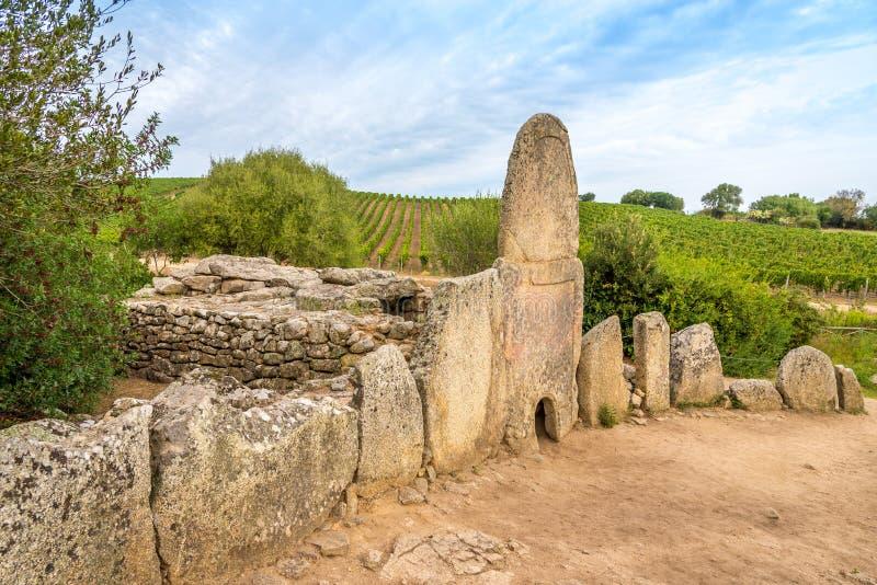 Coddu Vecchiu - Giants grave near the nuraghe Prisgiona stock photo