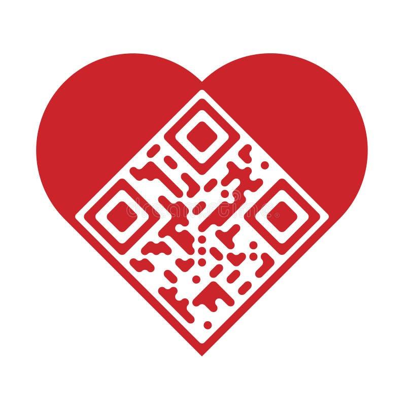 Code artistique de l'amour QR illustration stock