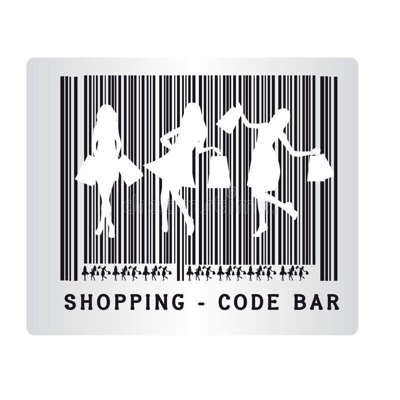 Code bar shopping. Black and white code bar shopping isolated over white background. vector vector illustration