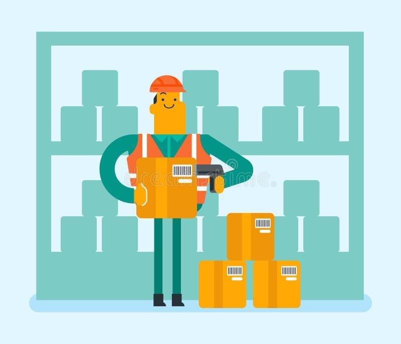 Code barres caucasien de balayage de travailleur d'entrepôt sur la boîte illustration stock