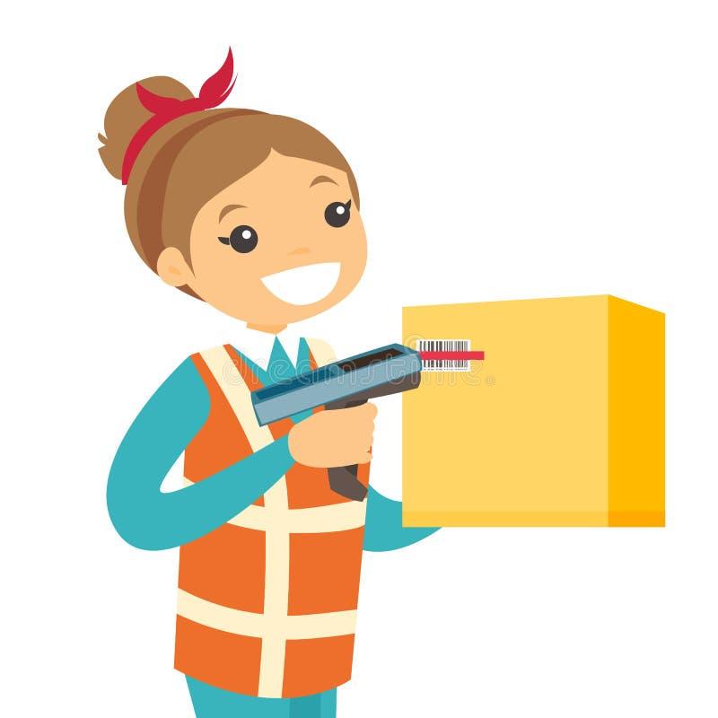 Code barres caucasien de balayage de travailleur d'entrepôt sur la boîte illustration de vecteur