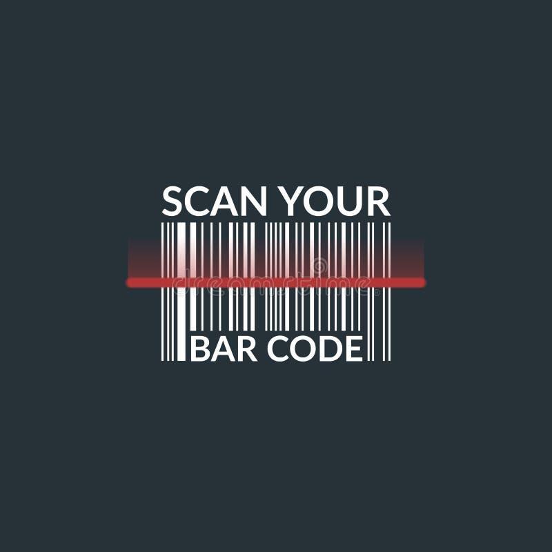 Code barres de balayage de concept du produit Illustration d'isolement sur un fond foncé illustration libre de droits