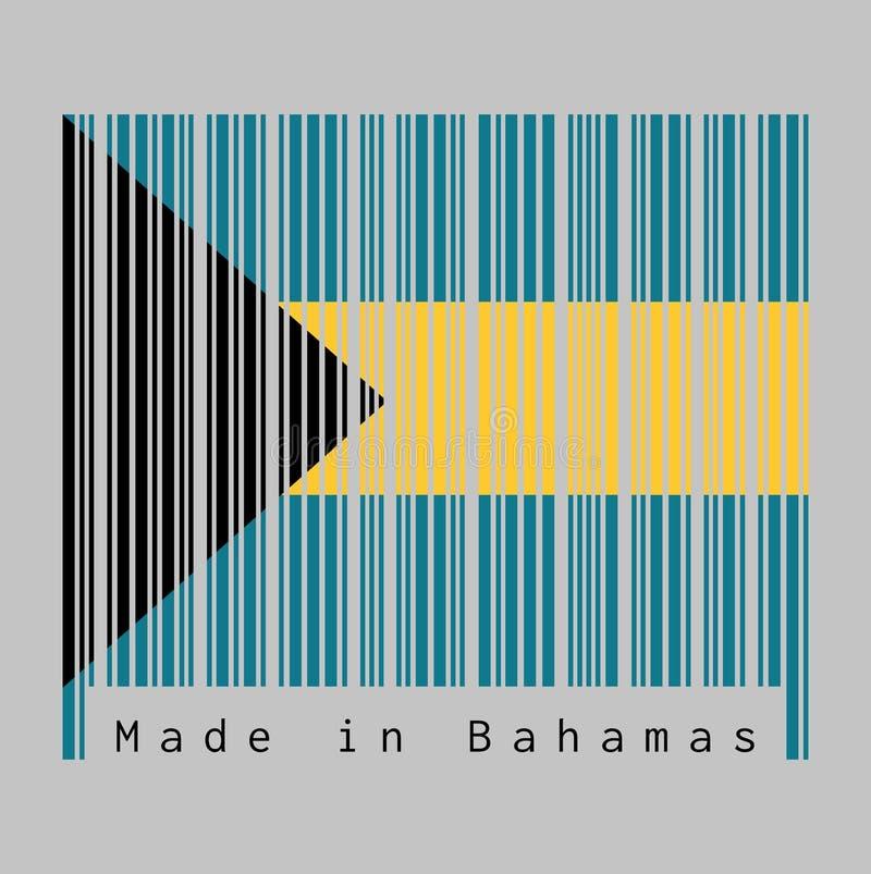 Code barres a placé la couleur de couleur de drapeau, d'aigue-marine et d'or des Bahamas avec le chevron noir aligné sur le grue- illustration de vecteur