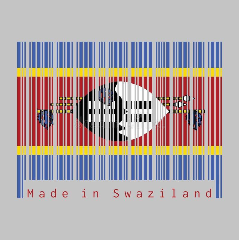 Code barres a placé la couleur de du drapeau du Souaziland, texte : Fabriqué au Souaziland illustration de vecteur