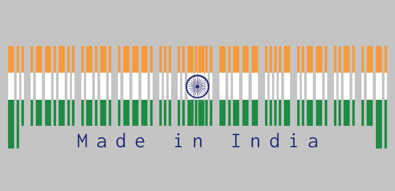 Code barres a placé la couleur du drapeau d'Inde, tricolore du safran d'Inde, blanc et vert avec la roue d'Ashoka Chakra illustration de vecteur