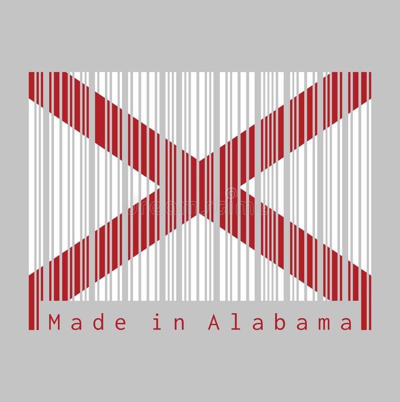 Code barres a placé la couleur du drapeau de l'Alabama, les états de l'Amérique, saltire rouge du ` s de St Andrew dans un domain illustration libre de droits