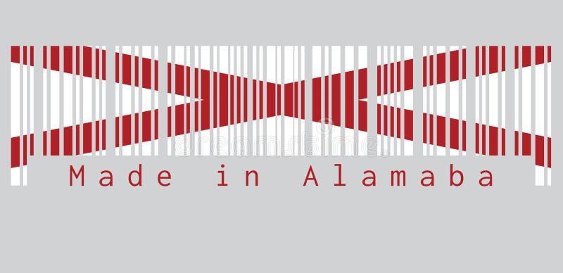 Code barres a placé la couleur du drapeau de l'Alabama, les états de l'Amérique, saltire rouge du ` s de St Andrew dans un domain illustration stock