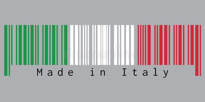 Code barres a placé la couleur du drapeau de l'Italie, la couleur blanche et rouge de vert avec le texte : Fabriqué en Italie illustration stock