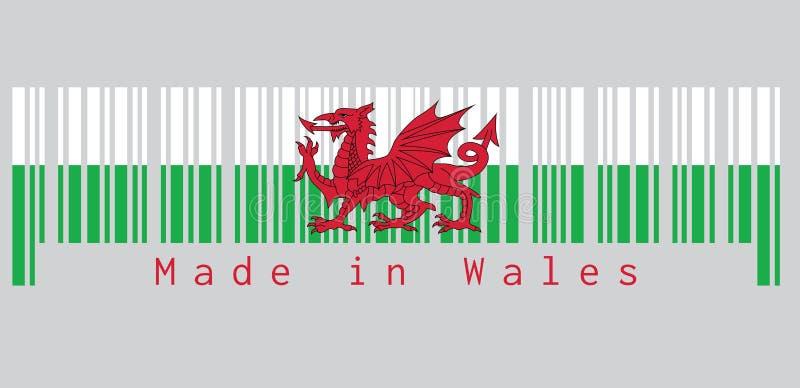 Code barres a placé la couleur du drapeau du Pays de Galles, se compose d'un dragon rouge passant sur un champ vert et blanc text illustration stock