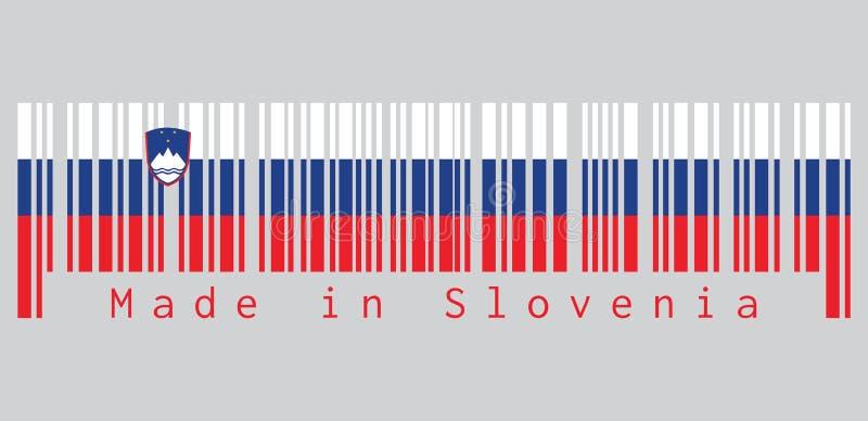 Code barres a placé la couleur du drapeau slovène, de bleu blanc et du rouge, chargés du manteau des bras sur le côté de grue illustration de vecteur