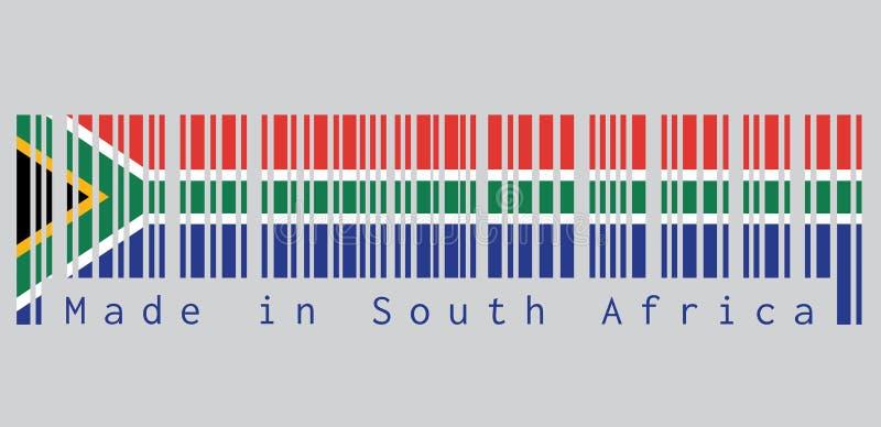 Code barres a placé la couleur du drapeau sud-africain, du rouge et du bleu avec un Y horizontal de triangle, blanc et vert noir illustration libre de droits