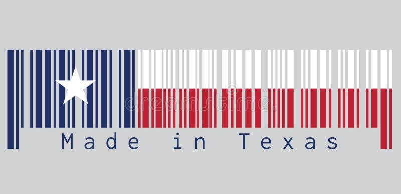 Code barres a placé la couleur du drapeau du Texas, bleu contenant une étoile blanche centrée simple couleur horizontalement blan illustration libre de droits