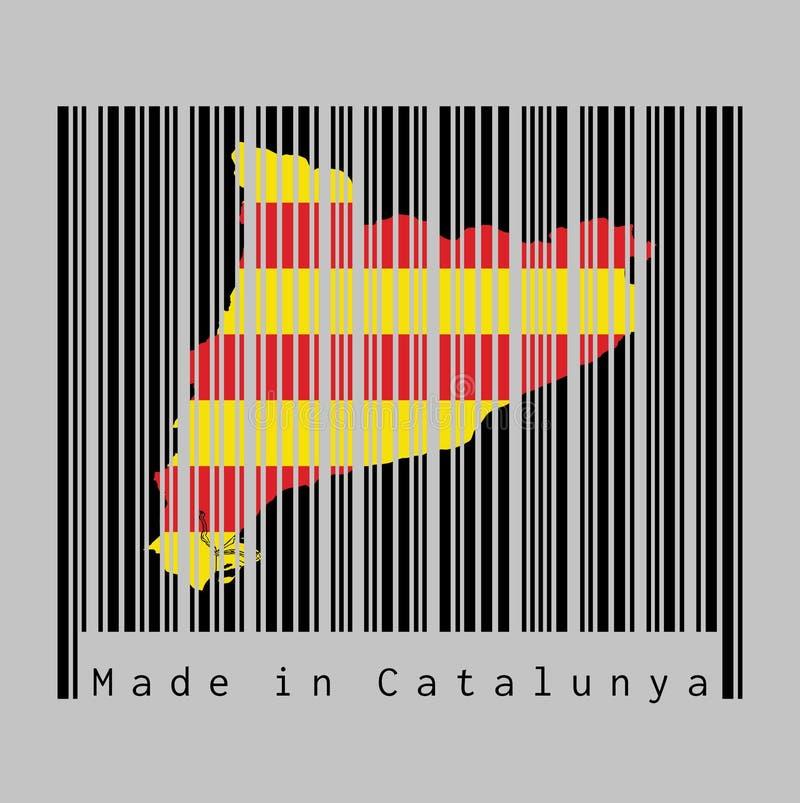 Code barres a placé la forme au contour de carte de la Catalogne et à la couleur du drapeau de la Catalogne sur code barres noir  illustration stock