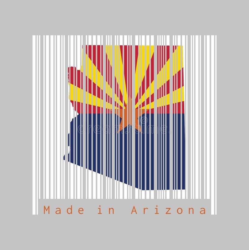 Code barres a placé la forme au contour de carte de l'Arizona et à la couleur du drapeau de l'Arizona sur code barres blanc avec  illustration libre de droits