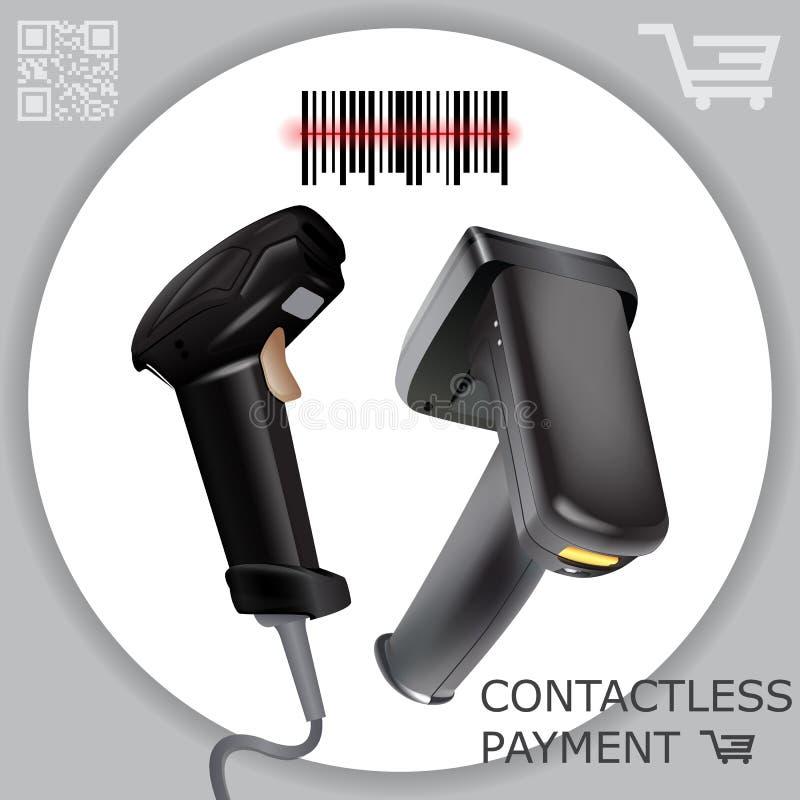 Code barres sans fil tenu dans la main de balayage de lecteur de scanner de code barres sur le fond blanc À rayon laser Illustrat illustration libre de droits