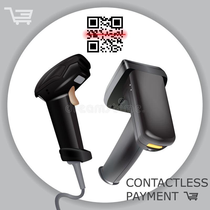 Code barres sans fil tenu dans la main de balayage de lecteur de scanner de code barres sur le fond blanc À rayon laser Illustrat illustration stock