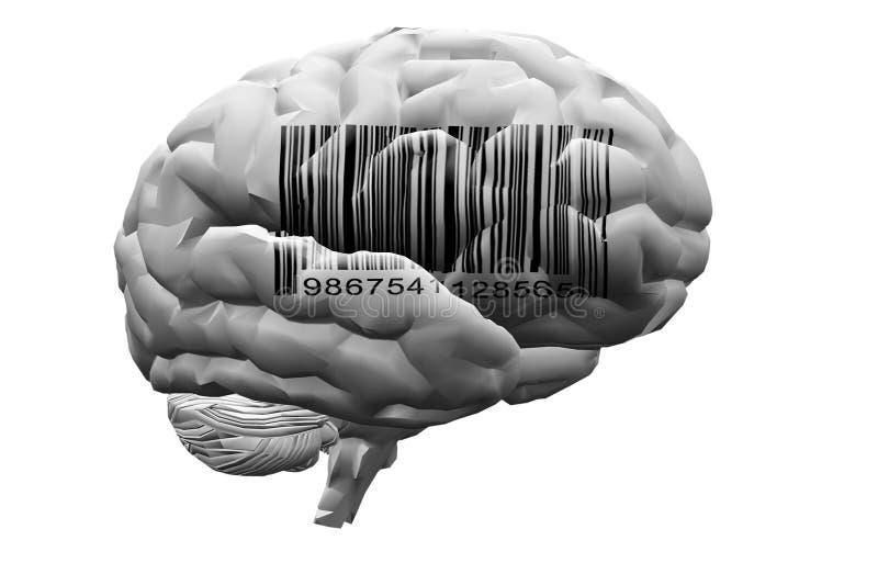 Code barres sur le cerveau illustration de vecteur