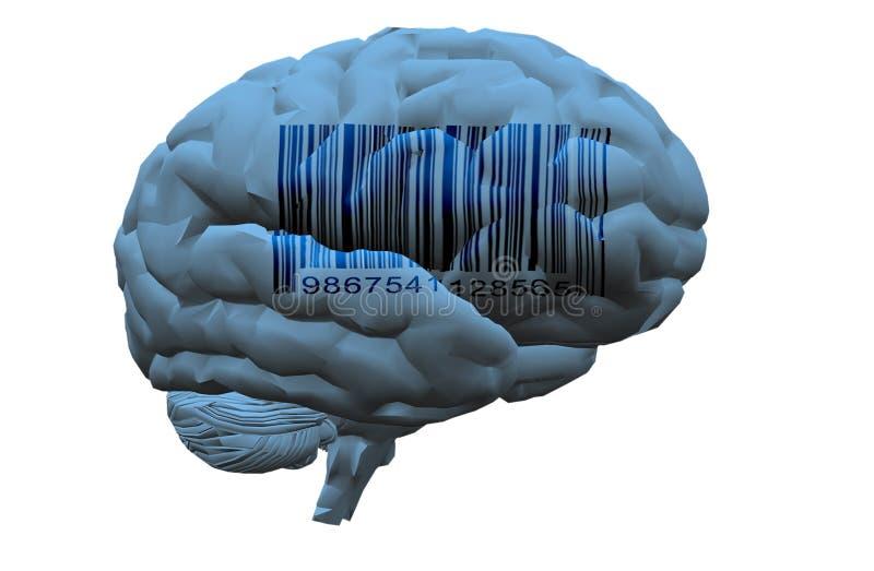 Code barres sur le cerveau illustration libre de droits