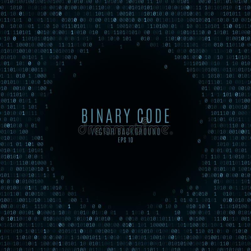 Code binaire abrégez le fond Nombres rougeoyants bleus en baisse Réseau global Hautes technologies, programmant, la science ficti illustration libre de droits