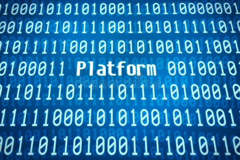 Code binaire avec la plate-forme de mot image stock