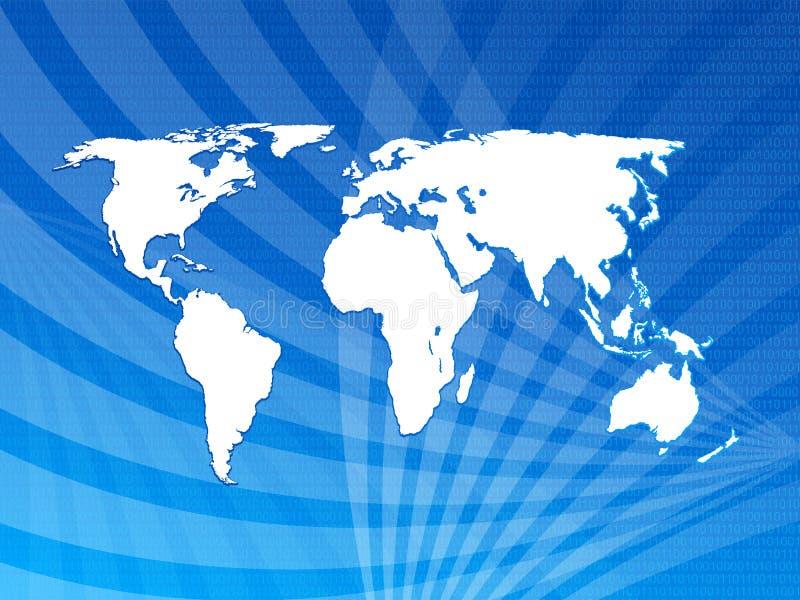 Code binaire avec le fond de carte du monde illustration stock