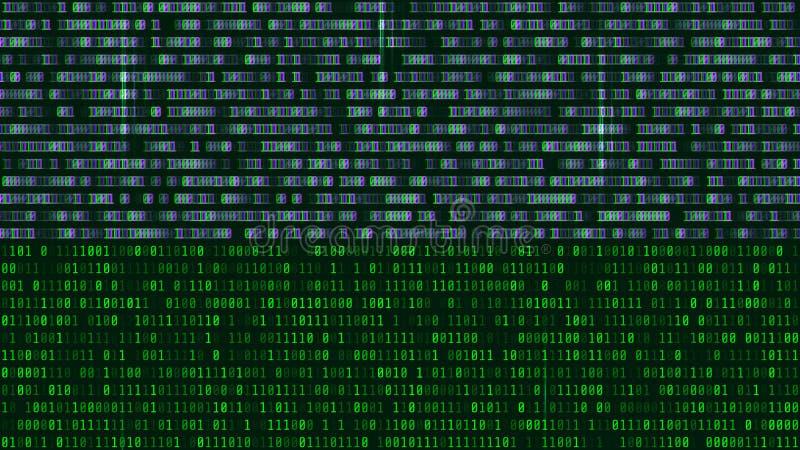Code binaire, chiffres verts sur l'écran d'ordinateur Figures avec t illustration stock