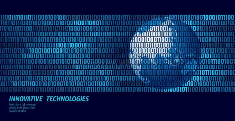 Code binaire d'échange de données global de la terre de planète Carte rougeoyante du monde de concept d'affaires de l'information illustration de vecteur