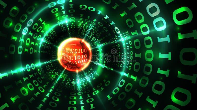 Code binaire d'ordinateur de données de matrice abstraite de fond, train de données de données, pare-feu abstrait Entailler le sy illustration stock