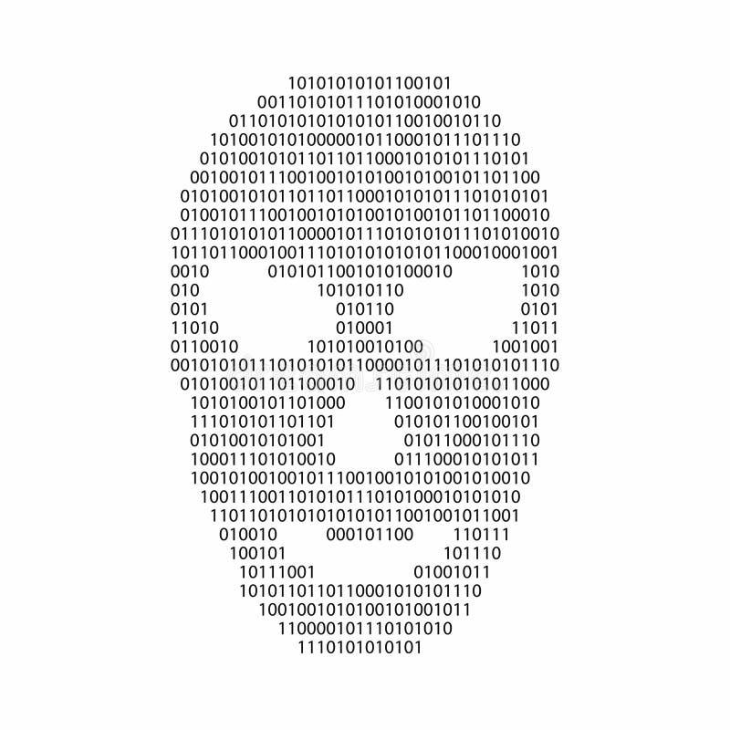 Code binaire dans la forme de visage de pirate informatique Malware et concept d'avertissement de virus illustration stock