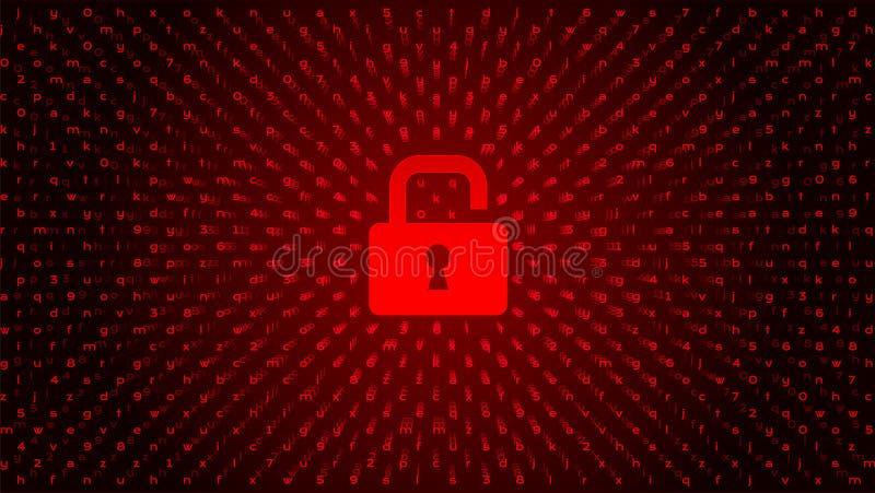 Code binaire de Digital sur la BG foncée avec la serrure illustration libre de droits