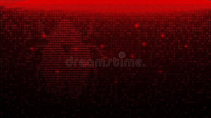 Code binaire de Digital sur la BG rouge foncé avec l'insecte illustration stock