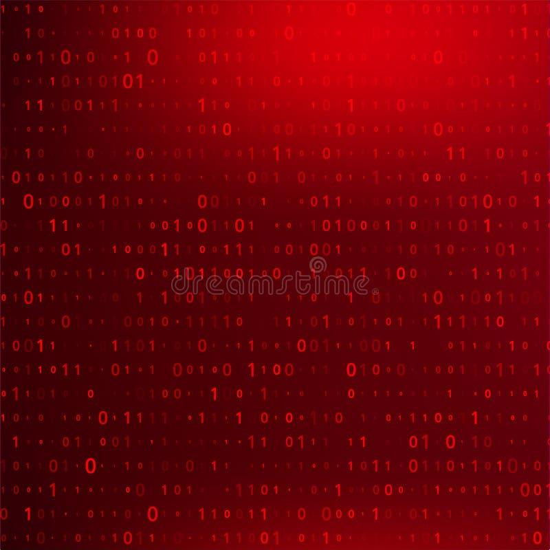 Code binaire de Digital sur la BG rouge fonc? Infraction de donn?es illustration stock
