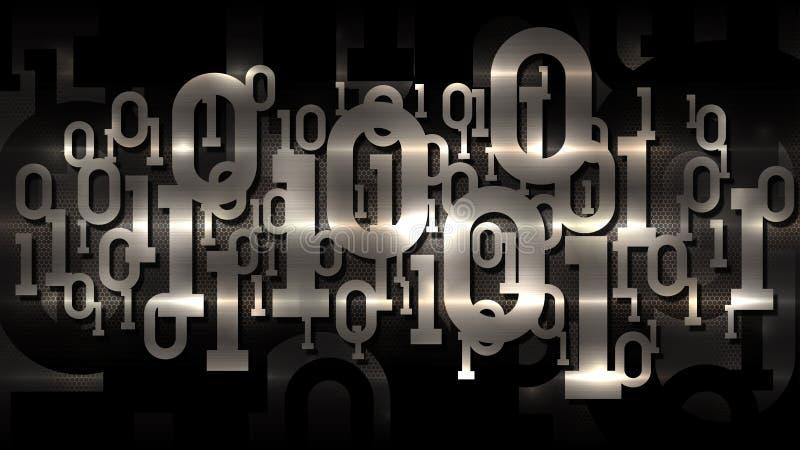 Code binaire de matrice brillante en métal, fond cellulaire foncé avec le code binaire numérique, intelligence artificielle, serv illustration libre de droits