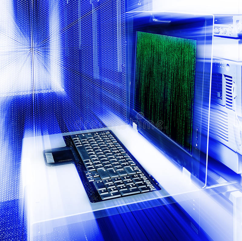 Code binaire de matrice terminale de tache floue de gestion de serveur image libre de droits