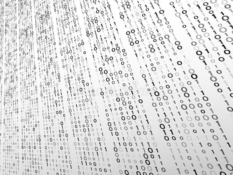 Code binaire de perspective abstraite sur un fond gris Concept de technologie de Matrix illustration libre de droits