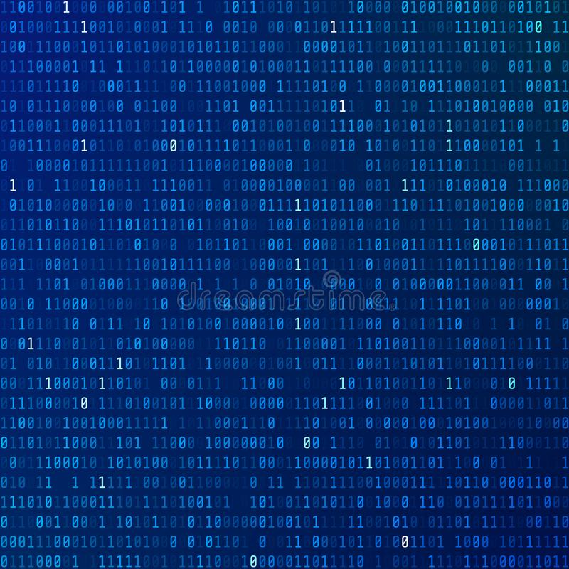 Code binaire L'information codée de programmation technologie de planète de téléphone de la terre de code binaire de fond Courant illustration libre de droits