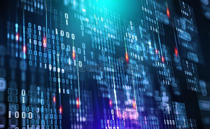 Code binaire Nuage de données Protection dans le réseau Train de données de données numériques illustration stock